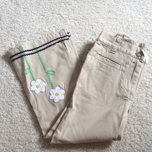 NWT Gymboree khaki flare pants with flower detail
